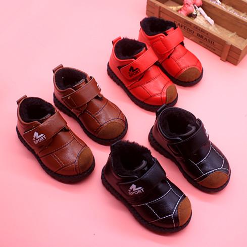 冬季防踢保暖皮鞋宝宝鞋子加绒加厚雪地靴 男女小童鞋子1-6岁棉鞋