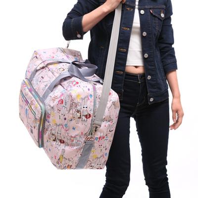 新款女大容量折叠轻便防水健身旅游行李包单肩手提短途收纳旅行包