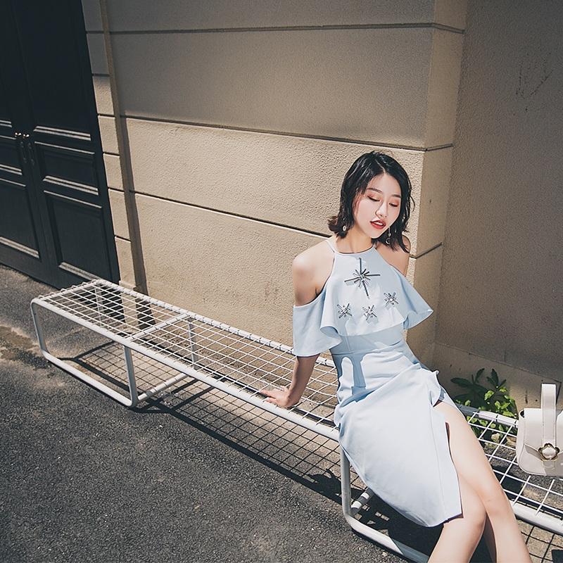 淺藍色schunse 連衣裙女2017春夏新款掛脖吊帶荷葉邊開叉韓版顯瘦晚禮服