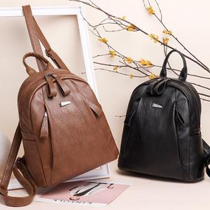 双肩包女士2018新款韩版百搭潮背包包软皮休闲时尚旅行大容量书包