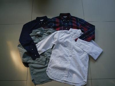 外贸男士衬衣白色纯色 水洗原单