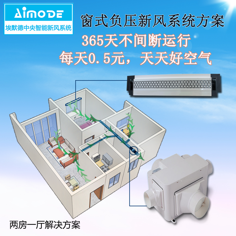 Emmed new air system, silent fan, window air inlet, two bedroom one way negative pressure ventilation scheme