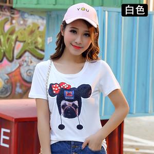 實拍003新款圓領短袖T恤女夏韓版修身白色卡通圖案釘珠上衣打底衫