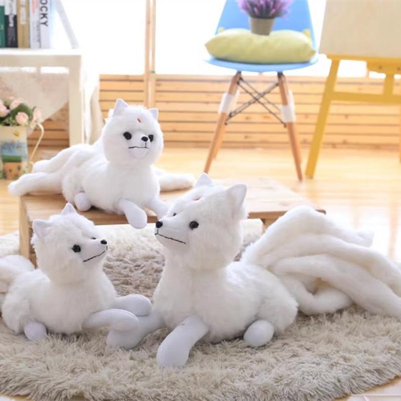 白色小號高26cm*長56cm九尾狐貍毛絨玩具公仔仿真三生三世十里桃花同款布娃娃禮物送女生