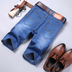 夏季薄款男士弹力牛仔短裤宽松直筒版型中裤大码七分裤中腰7分裤