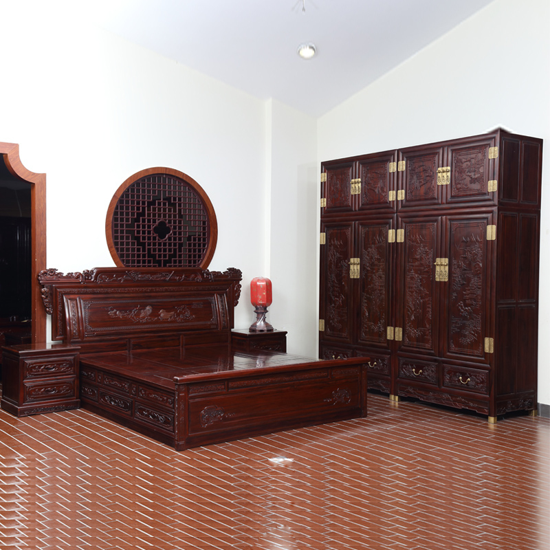 Hung Wei mahogany furniture rosewood wooden bedroom furniture Suites South 1.8 meters double bed solid wood storage bed