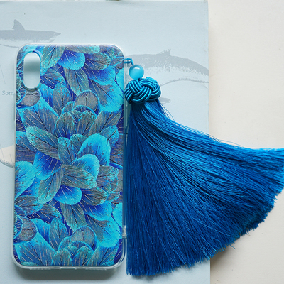 Chinese Ancient Phone Cases apple x mobile phone shell lake blue all-inclusive silicone tassel iphone8plus Huawei p20pro