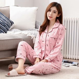 开衫睡衣女夏长袖棉质可外穿韩版清新学生春秋季家居服套装女睡衣