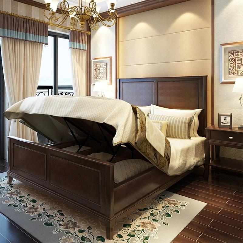 американский Кровать двуспальная кровать 1,5 метров 1,8 метров 1,2 метров односпальная кровать ящик хранения высокой супружеской кровати деревянные кровати простой спальня