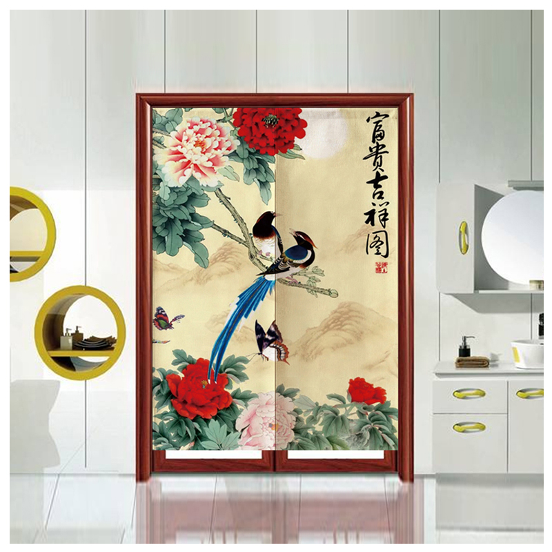 중국식 모란꽃 棉麻 布艺 문발 발을 걸다 주방 침실 칸막이 커튼 터가 반 커튼 대문 현관 횃보