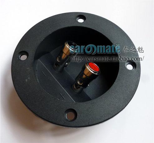 Una caja de madera circular Subwoofer de terminales bajo el sonido de altavoces terminales terminales de la primavera