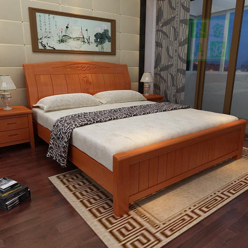 Big oak solid wood bed 1.8 meters double Chinese high box wood special price simple modern simple economy type master bedroom