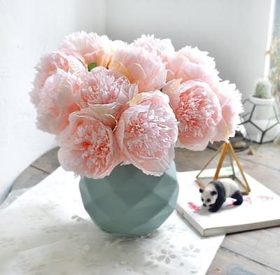 仿真花牡丹假花客厅餐厅咖啡馆装饰插花婚礼道具绢花优雅富贵花