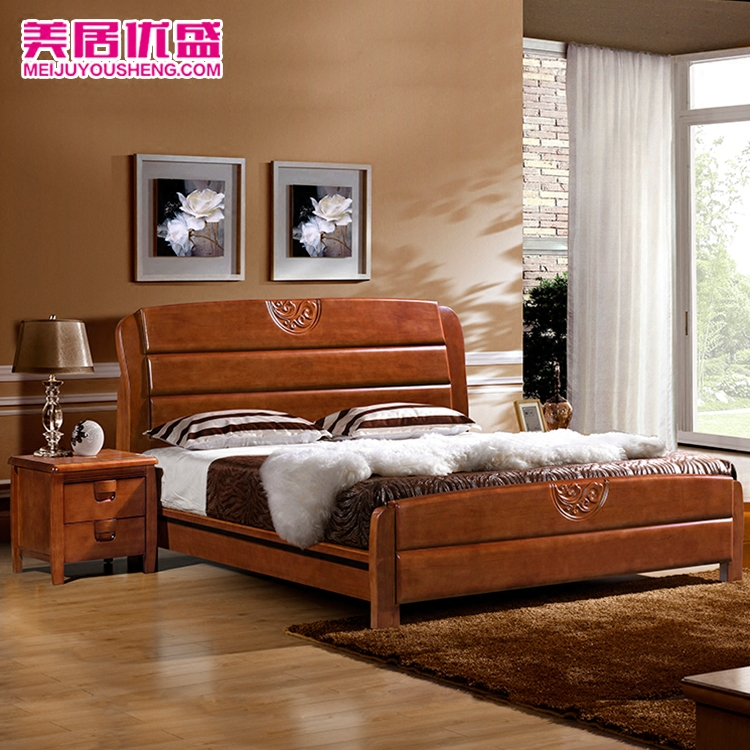 Beautiful wood solid bed oak 1.81.5 double bed modern Chinese solid wood high box bed LDJ-8869