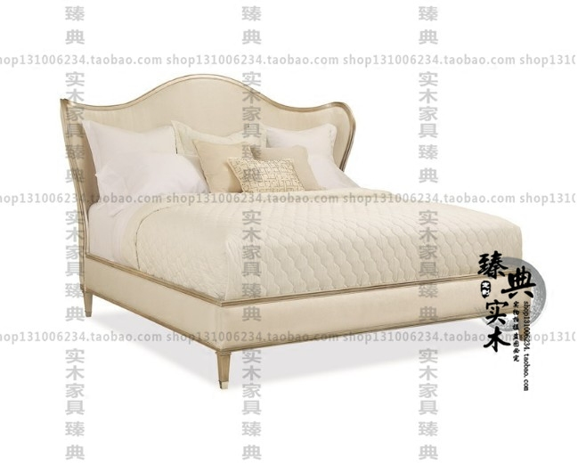 American solid wood cloth art bed new classical simple double post modern light luxury simple bed Jane 1.8 m bed