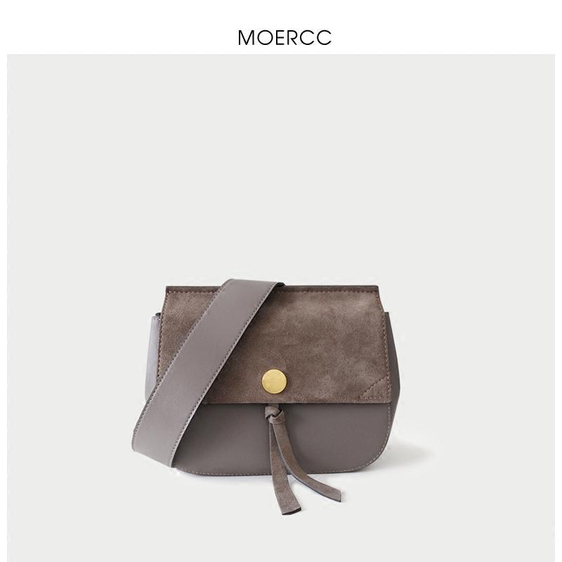 黑色moercc新款小包包寬肩帶斜挎包百搭流蘇牛皮女包韓版簡約單肩包