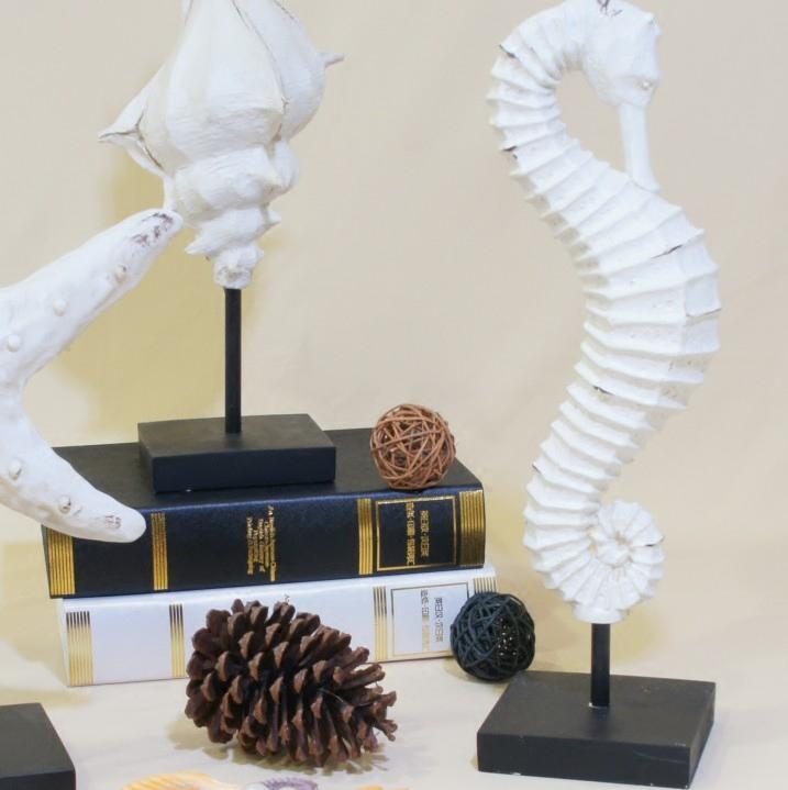 수지 흰색 해성이 소라 해마 장식품 데스크톱 지중해 거실 집 거실 액세서리 공예품