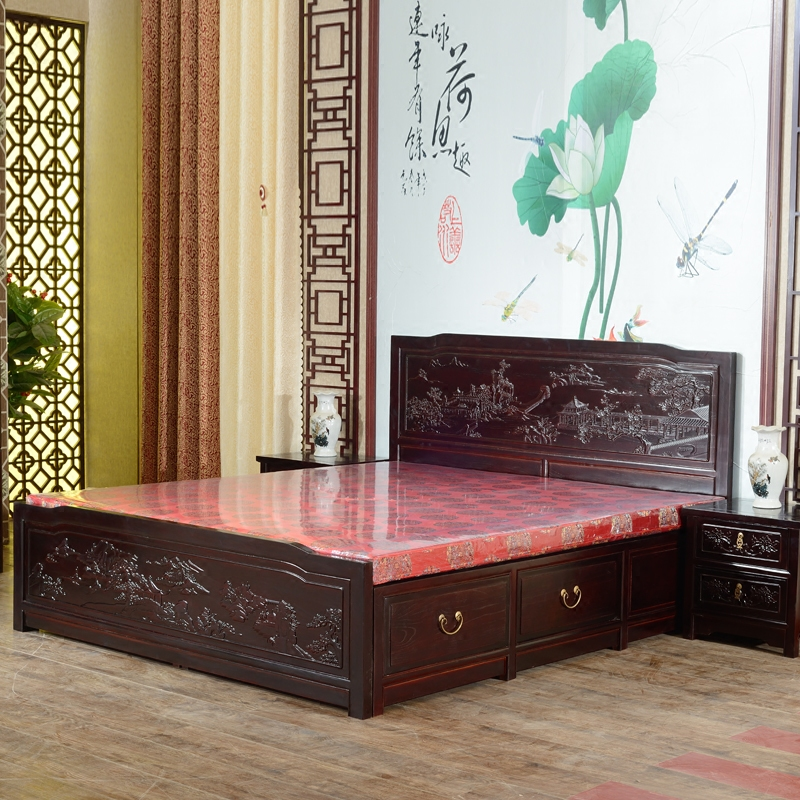 Musha all solid wood bed Chinese antique carved elm wooden bed of 1.5 meters 1.8*2 meters high double box storage bed