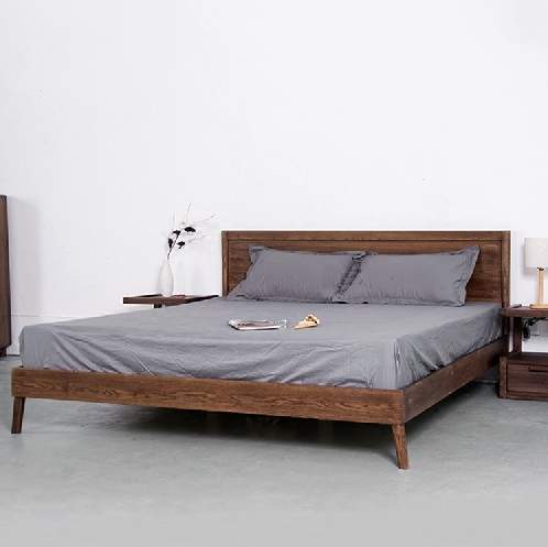 Black walnut wood double bed full Japanese Nordic simple marriage bed 1.8 meters all solid wood bedroom furniture