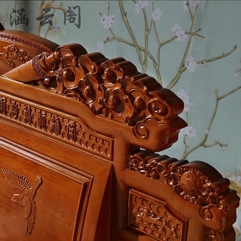 New Chinese style all solid wood bed, Ming and Qing carved antique bedroom furniture, 1.8 meters oak double bed imitation mahogany bed