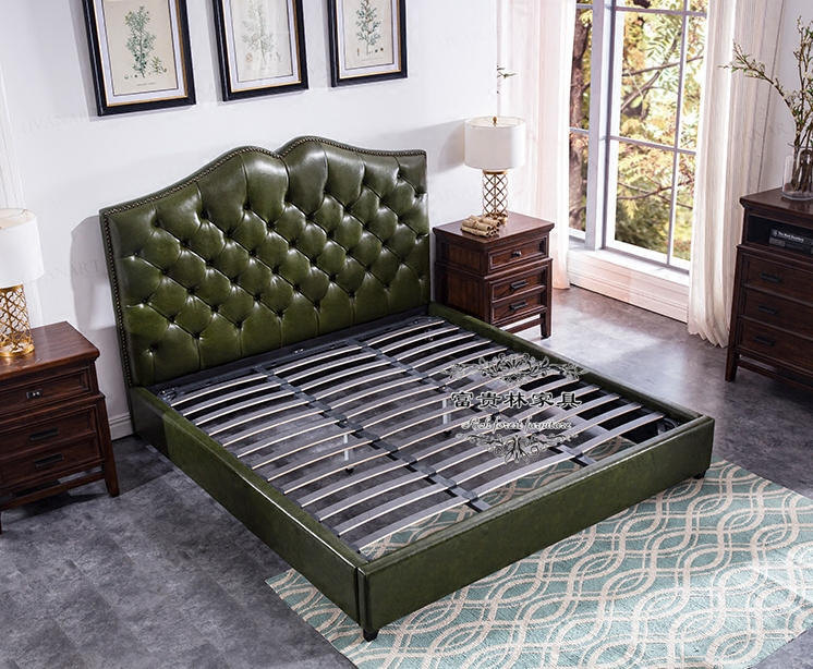 Simple European leather soft leather upholstered bed bed bed American side 1.5 meters 1.8 meters double leather wedding bed