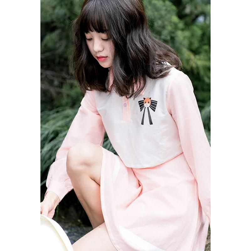 Váy/Dây đai quần yếm nữ giả hai lớp độ dài trung bình họa tiết mặt mèo phong cách Nhật Bản phù hợp cho mùa hè phong cách học sinh