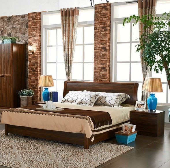 Bed master bedroom, modern Chinese economy type, simple new Chinese oak bed, double 1.8 meters pneumatic high box