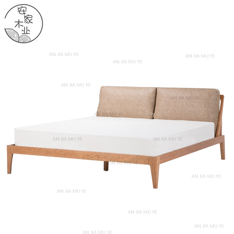 The whole solid wood bed soft back double oak black walnut wood simple modern Japanese tatami bed