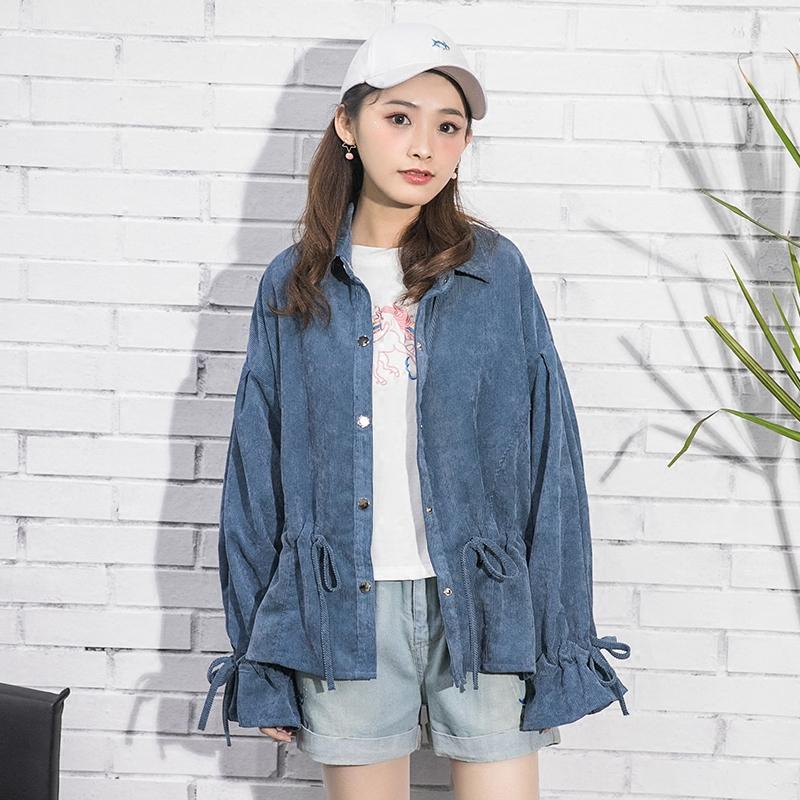 Áo sơ mi/Áo khoác nữ dài tay loại mỏng phong cách Hàn Quốc mốt mới mùa xuân dễ kết hợp kiểu dáng rộng rãi phong cách ngọt ngào phong cách học sinh