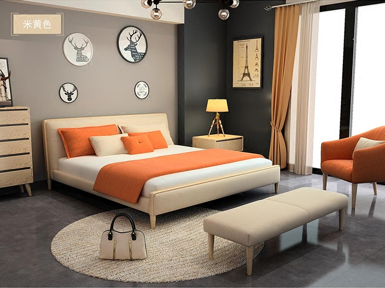 Nordic wood double bed linen cloth 1.5 custom fashion 2017009 rubber wood frame structure
