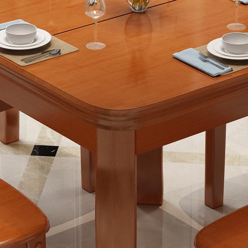 La combinación de la silla de madera de roble 4 personas puede ser plegado telescópico de pequeño tamaño de la mesa cuadrada de la mesa cuadrada blanca