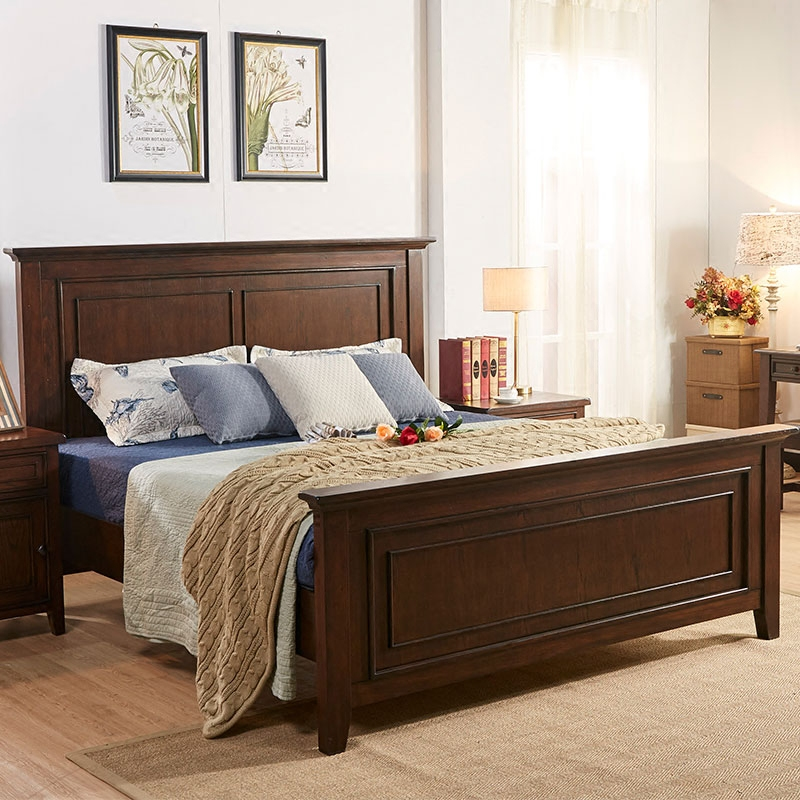 Red oak American style solid wood bed, 1.5/1.8 meter double bed, HH flat paint, high box bed, wedding bed spot