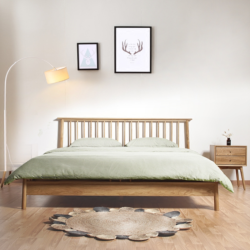 The Nordic minimalist modern Chinese oak wood bed double bed 1.8 meters Japanese tatami bed Princess Wedding bed