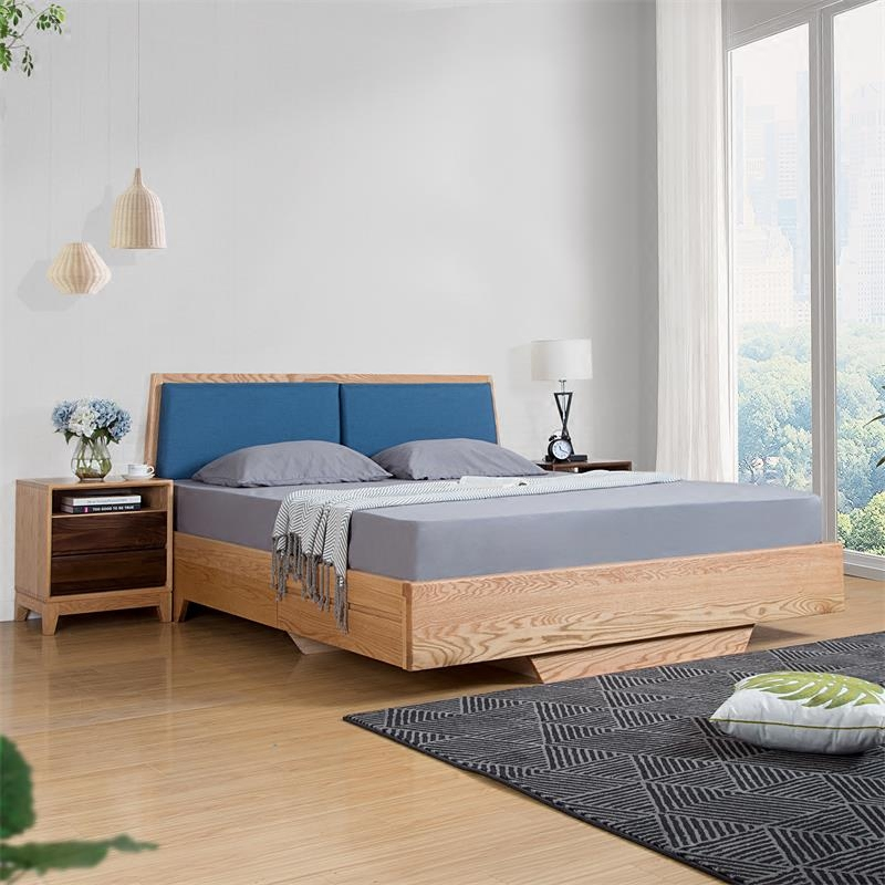 The black walnut wood bed tatami bed drawer box storage 1.8 double bedroom