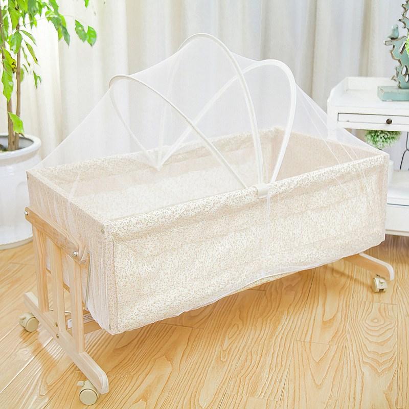 揺りかごベッド新生児小ゆりかごベッド木造帯ホイール携帯を蚊帳のミニ赤ちゃん小さな揺れ隠蔵相関