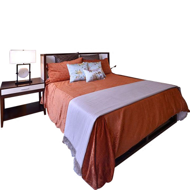 New Chinese style solid wood double bed, modern villa model room, 1.8 meter double bed, wedding bed, hotel, club, cloth bed