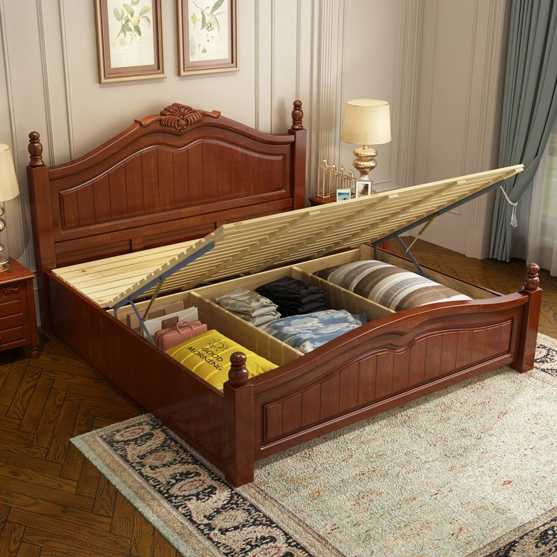 American country all 1.8 meters 1.5m oak Chinese double bed, high box storage, wedding bed, bedroom furniture, solid wood bed