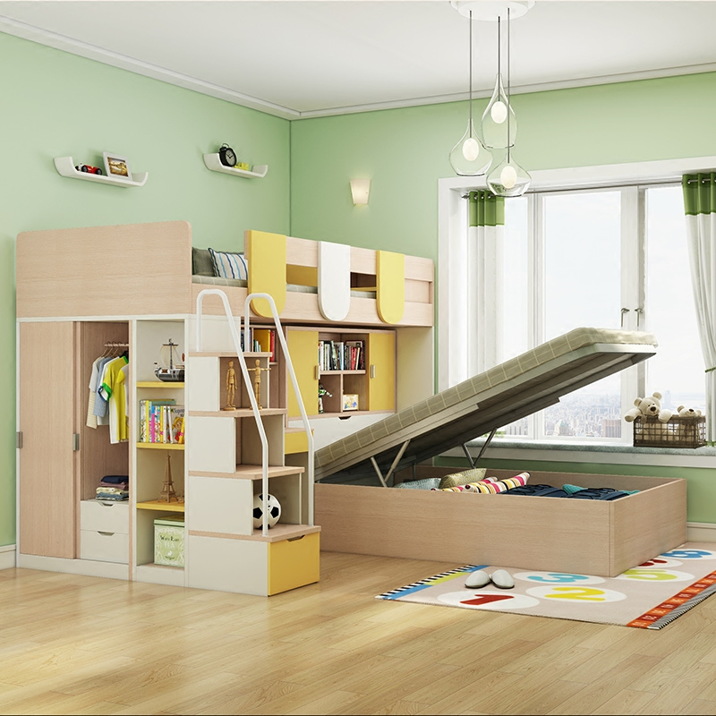 Children bed bed double bed, adult multi-function high and low combination bed, small apartment with desk, wardrobe bed