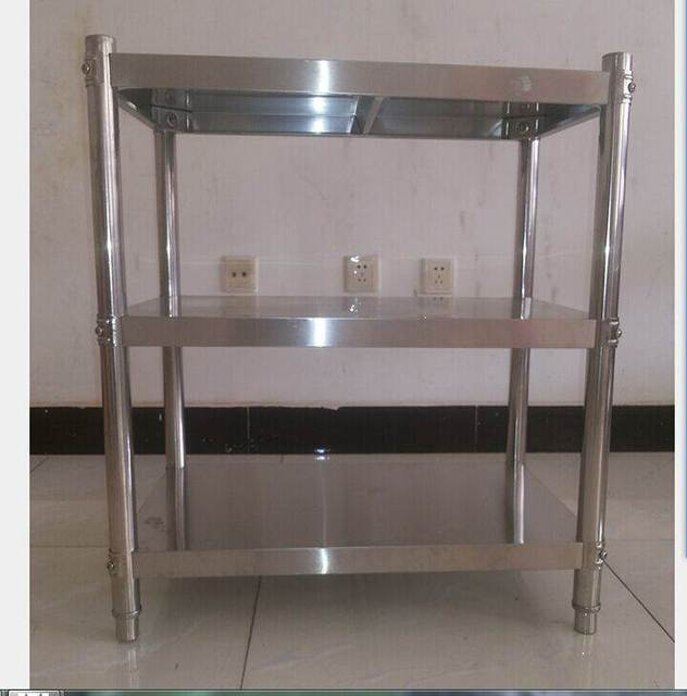 Thick 304 stainless steel kitchen shelf shelf three layer floor household microwave oven rack custom storage rack