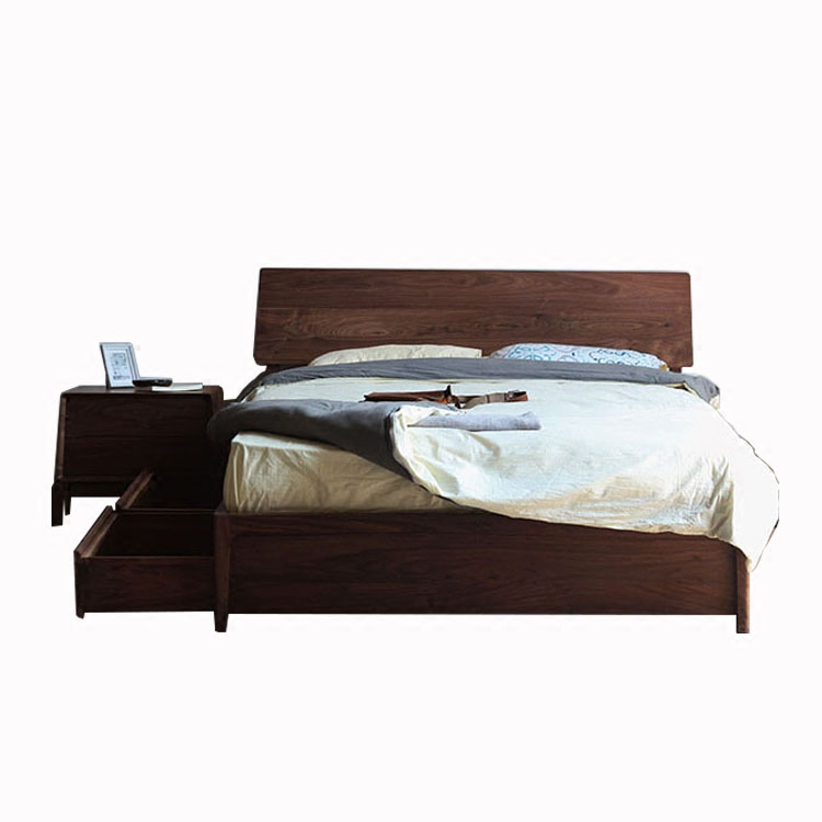 New products promotion black walnut storage bed, oak solid wood drawer, high box double bed, simple small apartment furniture