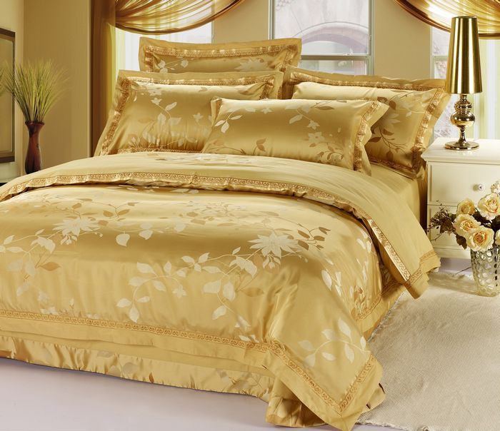 The Nordic minimalist high-grade silk colorful Satin Jacquard cotton four piece bedding 1.5m1.8 bed