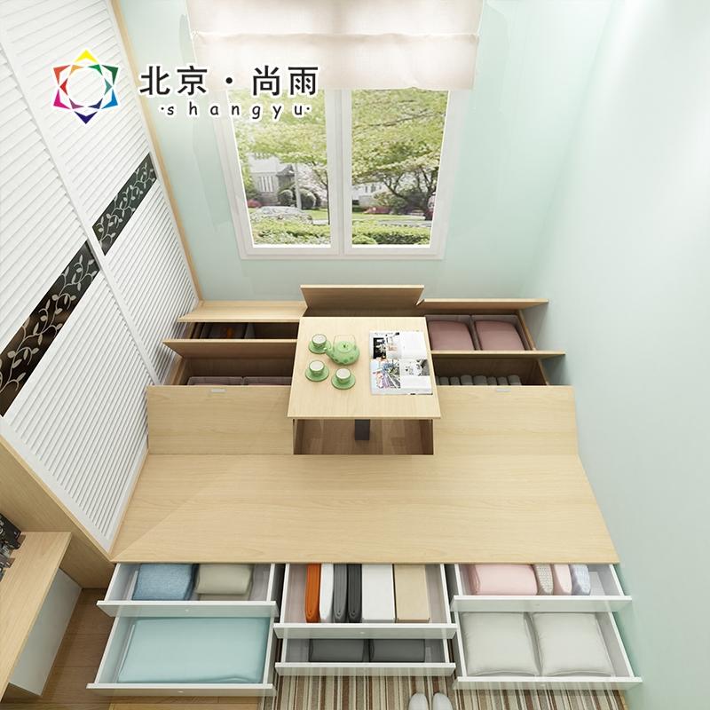 Custom tatami modern minimalist type bed 1.5 meters 1.8 meters high tatami bed storage box containing bed bedroom