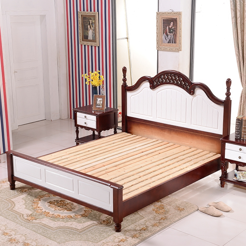 Simple European Mediterranean wood American country bed pneumatic European oak bed 1.8 meters double neoclassical simplicity