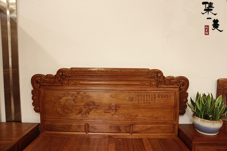 Burma rosewood rosewood bed solid wood bed bedroom bed Chinese padauk bed carved 1.8 meters