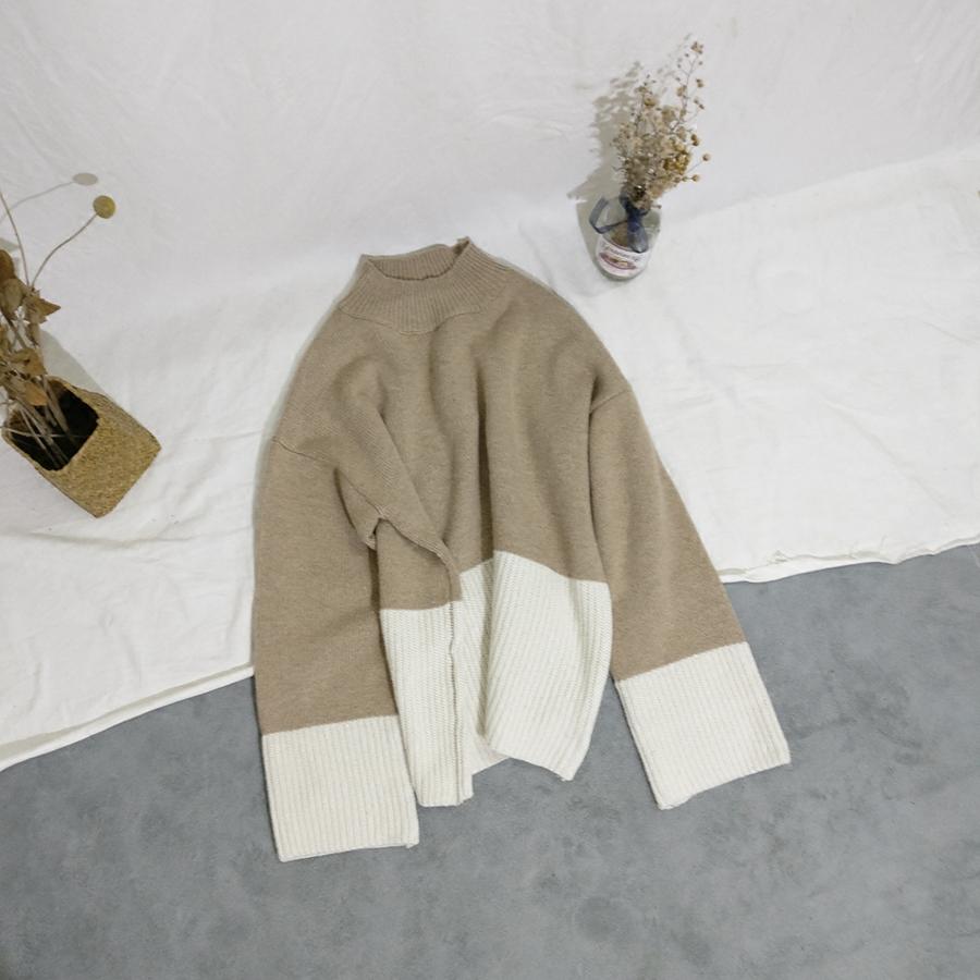 BIGKING Daikin high sense double color stitching CHIC loose sleeve sweater