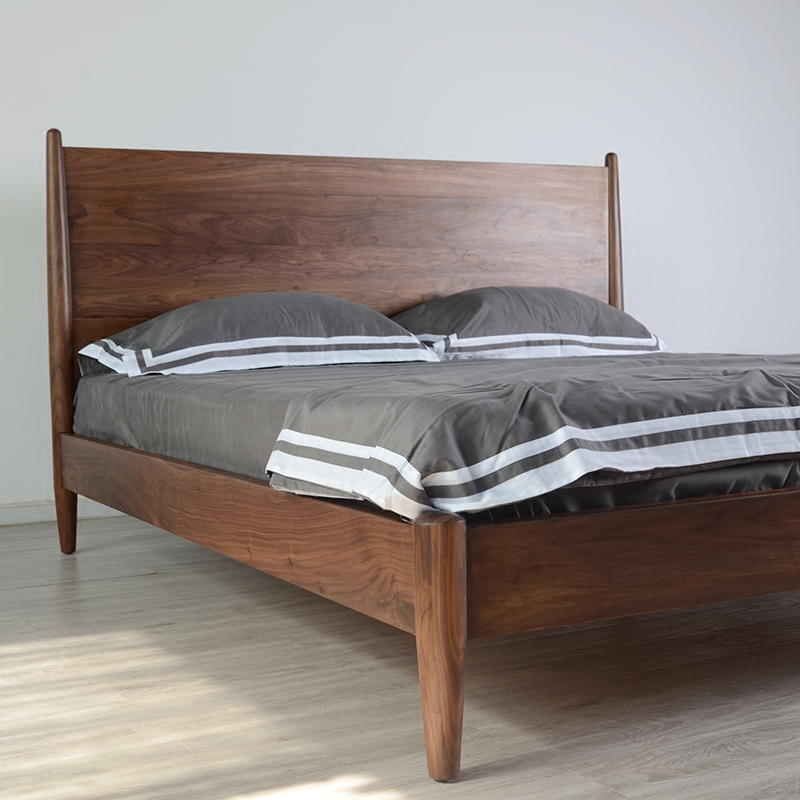 Nordic solid wood bed, black walnut, 1.8 meter bed double bed, Nordic solid wood furniture custom American bed