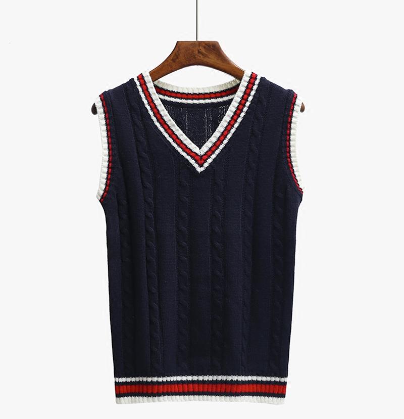 Knitting Vest For Women : Women knit vest v neck sleeveless knitted vintage sweater