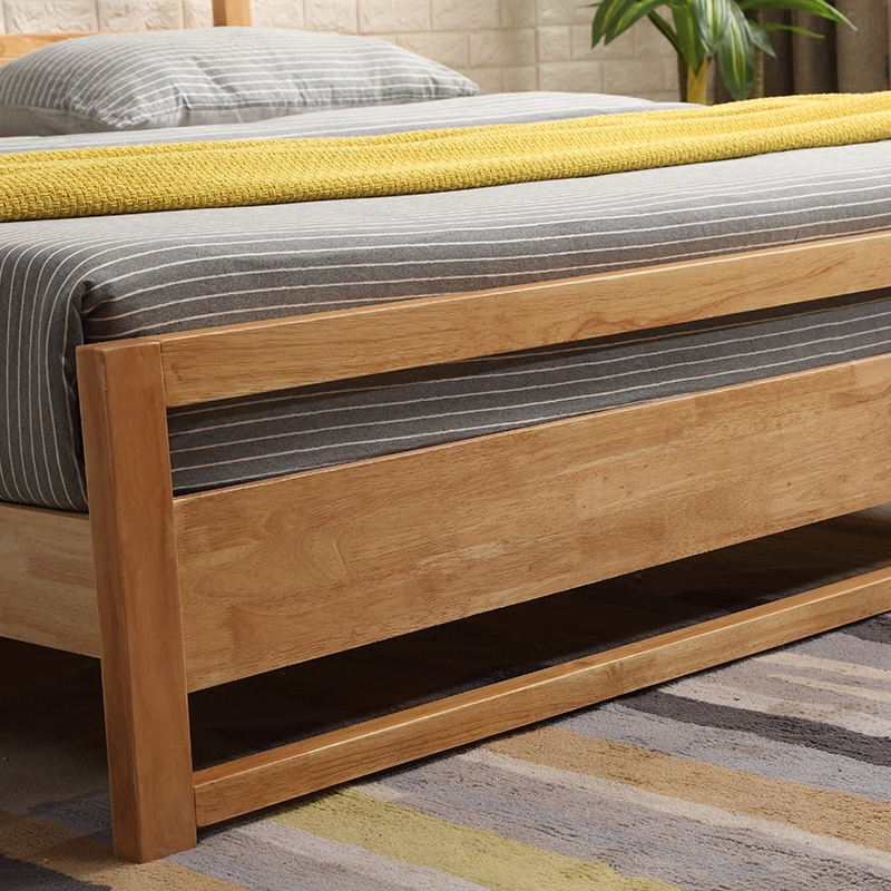 Nordic all solid wood bed log, 1.8 meters double bed, master bedroom furniture, modern simple marriage bed, high box storage bed