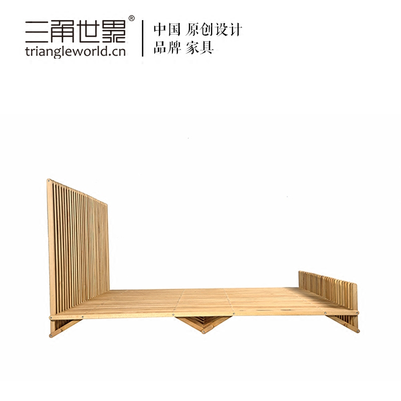The original design [] triangle wood bed double Zhuwo Chuang Chou dreaming a butterfly second bedroom modern minimalist new Chinese style