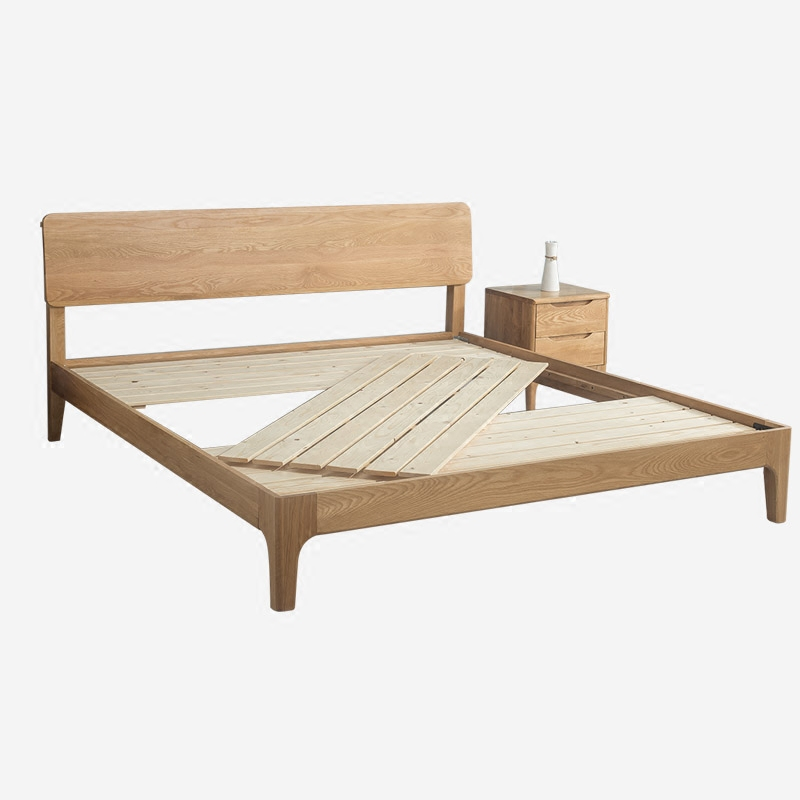 Pure solid wood double bed, 1.8 meters white oak bed, black Hu solid wood bed, 1.5 meters bedside socket, simple customization